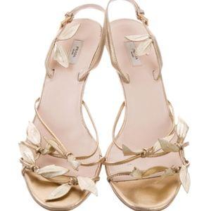 Prada Leaf Embellished Gold Tone Sandal 9